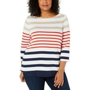 Charter Club Striped 3/4 Sleeve Boatneck Top 1X